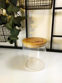 Glazen pot met bamboe deksel - hoog