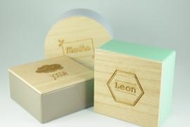 Vierkant blikje met gegraveerd houten deksel - vanaf 10 stuks