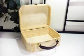 Houten koffertje met lederen handvat - bedrukt