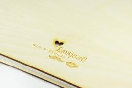 Boekje met houten kaft - gegraveerd - A6