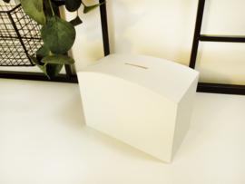 Houten spaarpot wit groot - gegraveerd