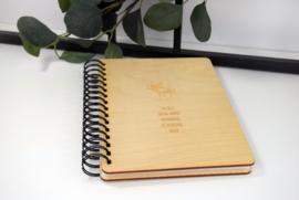 Boek met houten kaft - gegraveerd - A5