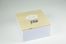 Vierkant blikje met houten deksel - full color bedrukking - vanaf 10 stuks