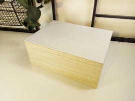 Houten doos met wit deksel - bedrukt