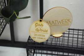 Houten medaille - gegraveerd - vanaf 10 stuks