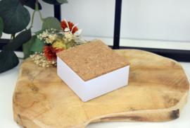 Vierkant blikje met kurken deksel zonder bedrukking - per 10 stuks