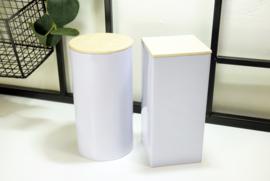 Hoog wit blik met houten deksel - bedrukt