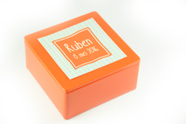 Vierkant blikje met sticker - vanaf 10 stuks