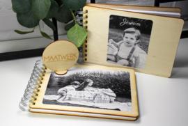Boek met houten kaft - full color bedrukt - A4
