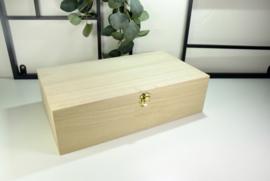 Houten doos met scharnierdeksel en uitneembaar tussenschot - bedrukt