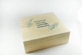 Houten doos vierkant met los deksel - bedrukt