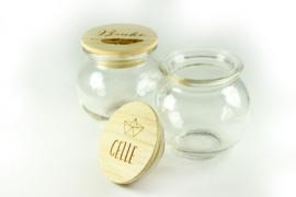Houten doosjes en glas