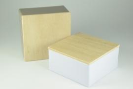Vierkant blikje met houten deksel zonder bedrukking - per 10 stuks