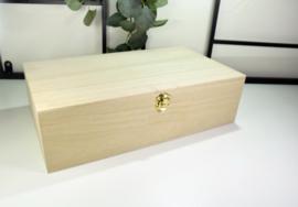 Houten doos met scharnierdeksel en tussenschot - gegraveerd