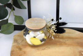 Bolletje in glas met houten deksel - gegraveerd - vanaf 10 stuks