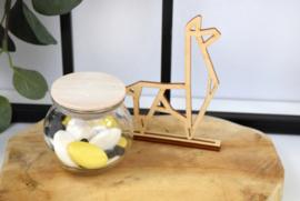 Bolletje in glas met houten deksel - bedrukt - vanaf 10 stuks
