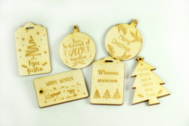 Set van 6 kerstlabels in hout