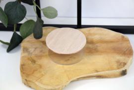 Glazen potje met houten deksel - bedrukt - vanaf 10 stuks