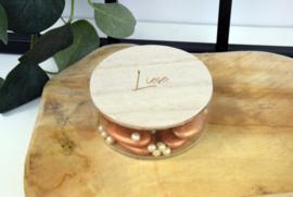 Glazen potje met houten deksel - gegraveerd - vanaf 10 stuks