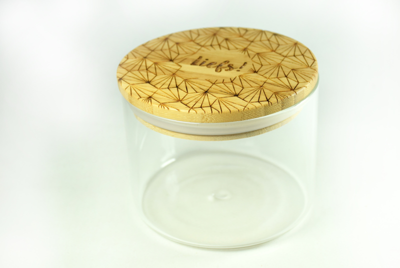 Ronde Glazen Pot.Glazen Pot Met Bamboe Deksel Laag Houten Cadeau S