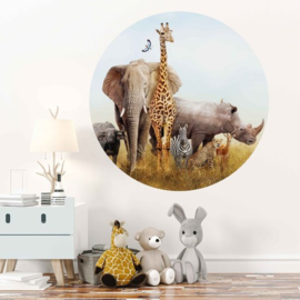 Muursticker rond - jungle kamer (dieren)