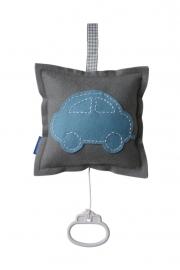 Muziekdoosje auto grijs - lichtblauw