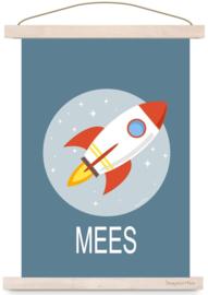 Poster kinderkamer ruimtevaart raket met naam