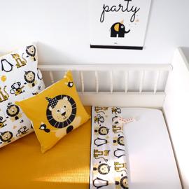 Ledikantdeken babykamer dieren oker geel - wafelstof oker