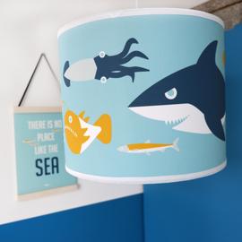 Kinderlamp onderwater vissen en haai - blauw