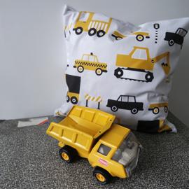 Kussen auto voertuig oker - inclusief binnenkussen