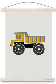 Poster kinderkamer voertuig kiepwagen - oker geel