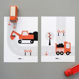 Posterset voertuigen graafmachine  kinderkamer - terracotta