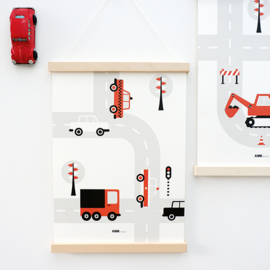 Poster auto voertuigen kinderkamer - terracotta rood - roest