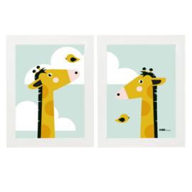 Posterset kinderkamer giraffe - mint