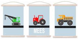Poster set jongenskamer - kiepwagen + kraanwagen + tractor met naam