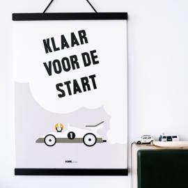 Poster kinderkamer klaar voor de start raceauto -  grijs