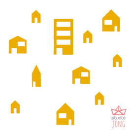 Autobaan sticker uitbreidingsset huisjes geel