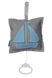 Muziekdoosje zeilboot grijs - lichtblauw