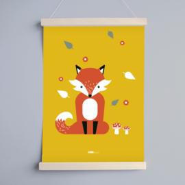 Poster kinderkamer vos - oker geel