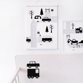 Poster kinderkamer caravan voertuigen - zwart wit