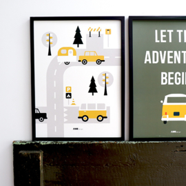 Poster kinderkamer caravan voertuigen - oker geel
