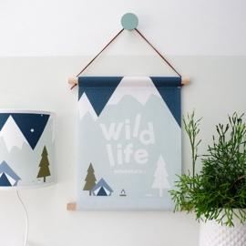 Textielposter kinderkamer wild life - mint