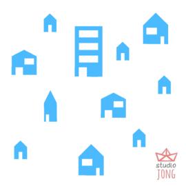 Autobaan sticker uitbreidingsset huisjes lichtblauw
