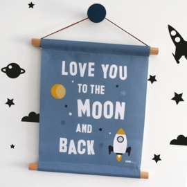 Textielposter Love you to the moon - jeans blauw