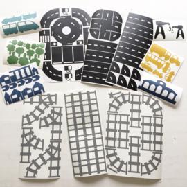 XL Voordeelset autobaan + treinbaan rails stickers