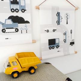 Textielposter auto voertuigen kinderkamer - jeans blauw