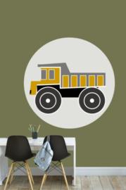 Muursticker kinderkamer - kiepwagen oker