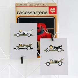 Posterset kinderkamer raceauto F1 - grijs