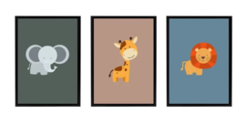 Posterset kinderkamer dieren - olifant giraffe leeuw