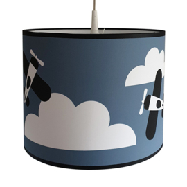 Kinderkamer lamp vliegtuigen en wolken - jeansblauw